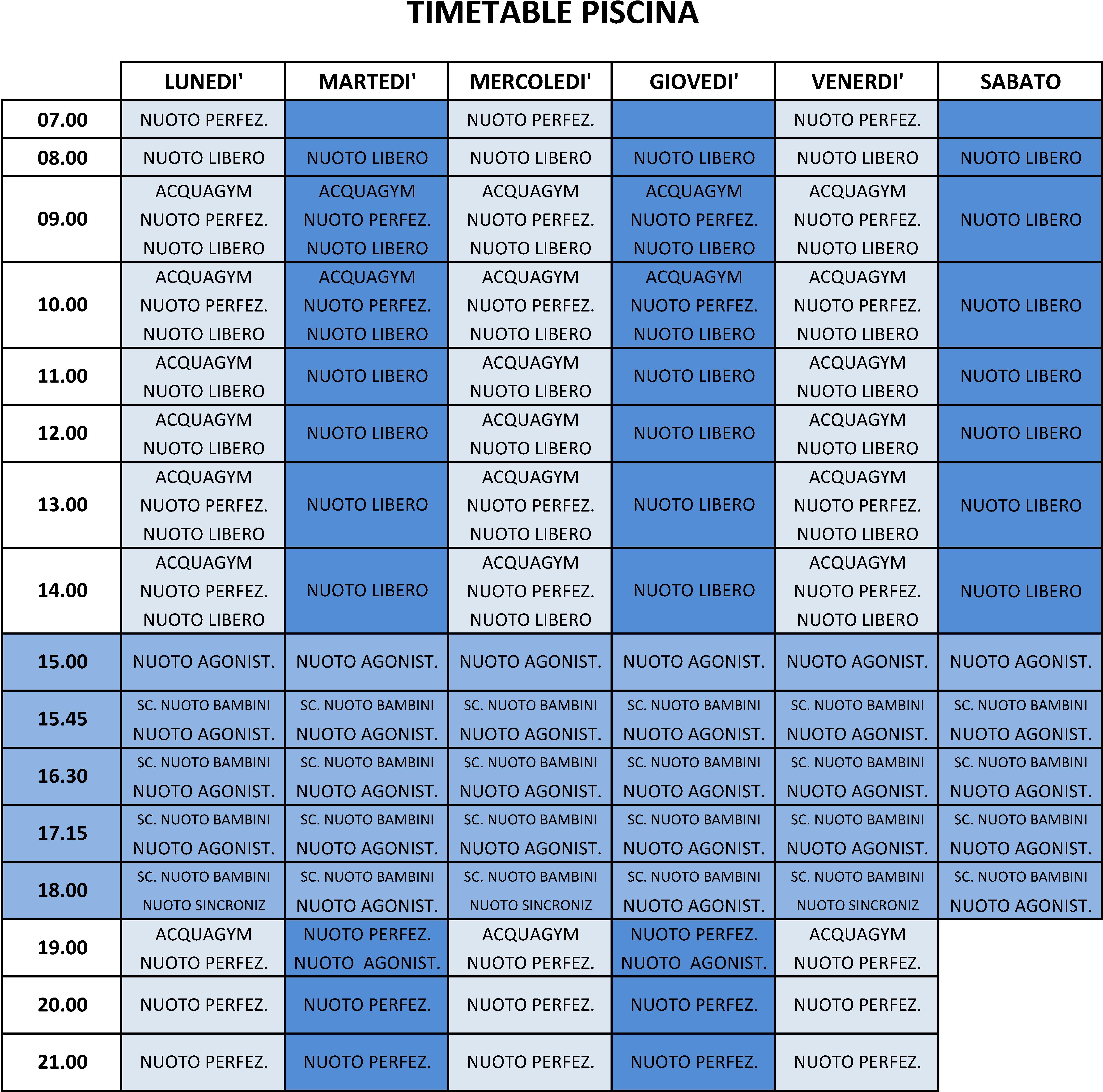 Timetable Piscina 2015